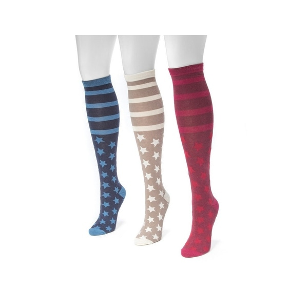 Muk Luks Socks Womens Jacquard Knee High 3 Pack One Size Ivory - One size