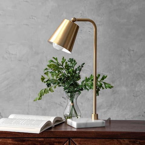 "nuLOOM 20"" Metal Hanging Bell Metal Shade Table Lamp"