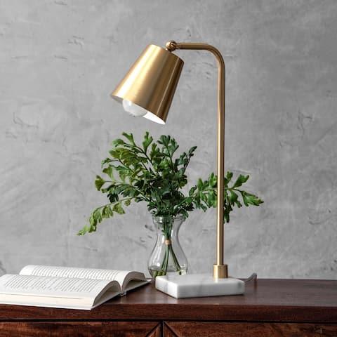 """nuLOOM 20"""" Metal Hanging Bell Metal Shade Table Lamp"""