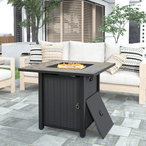 Outdoor Propane Gas Fire Pit with Steel Heater and Control Knob, Black