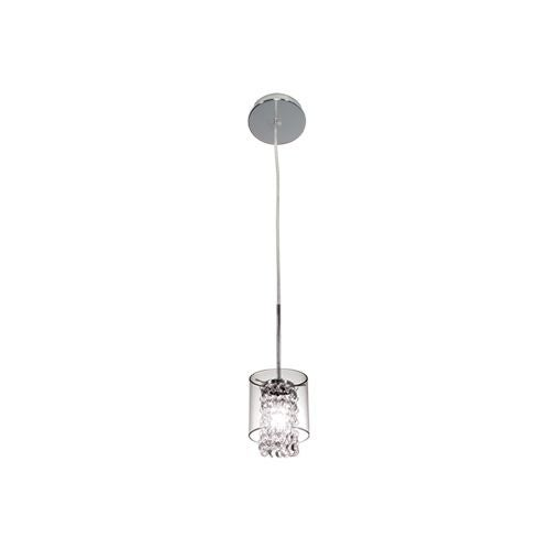 Bazz Lighting PR3811CB Glam Series Single-Light Mini Pendant, Finished in Chrome with Glass Beads