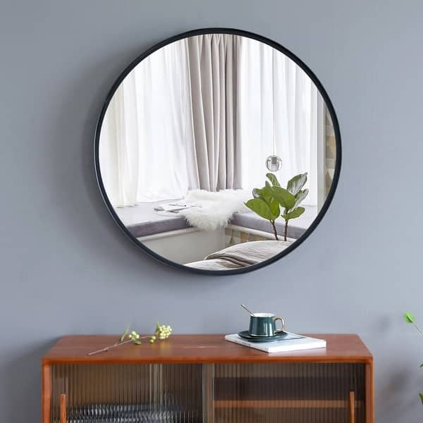 20 30 Round Art Wall Mirror Metal Frame For Entryways Washrooms Living Rooms Decor Overstock 32118906
