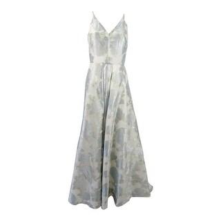 Calvin Klein Women's Floral-Print A-Line Gown - blue eggshell