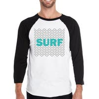 Surf Waves Mens Black 3/4 Sleeve Raglan T-Shirt Funny Baseball Tee