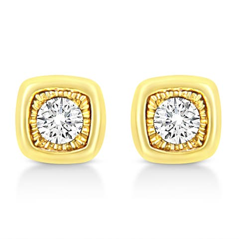 10K Yellow Gold Plated .925 Sterling Silver 1/10 Cttw Miracle-Set Diamond Cushion Shape Stud Earrings (K-L Color, I2-I3 Clarity)