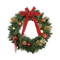 "24"" Pre-Decorated Red and Gold Ball Ornaments, Pine Cones & Bow Artificial Christmas Wreath - Unlit"