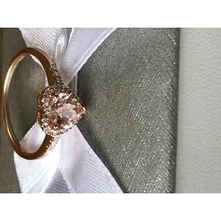 Miadora 10k Pink Gold Morganite and 1/10ct TDW Diamond Heart Ring (G-H, I2)