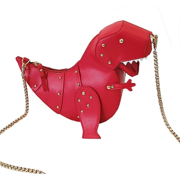 Awesome Riveted Dinosaur Crossbody Chain Purse