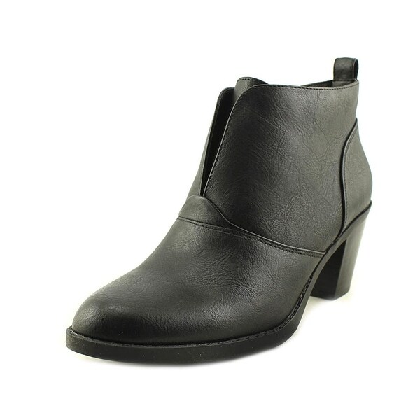 Kim Rogers Mercy Women Round Toe Leather Black Ankle Boot