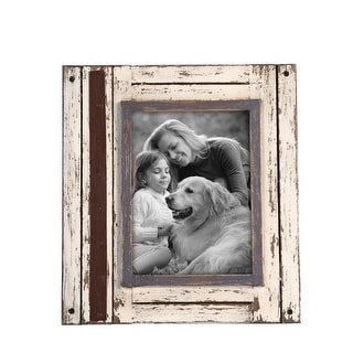 Link to Foreside Home & Garden White and Brown 5 x 7 inch Decorative Distressed Wood Picture Frame Similar Items in Decorative Accessories