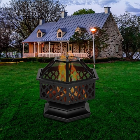 "24"" Hexagonal Shaped Iron Brazier Wood Burning Fire Pit"