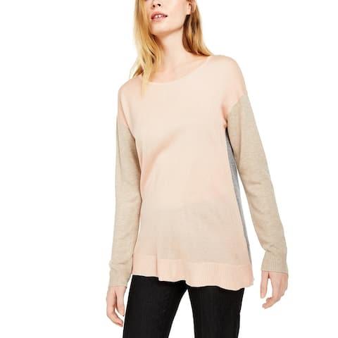 Calvin Klein Women's Crewneck Colorblocked Sweater Lt/Paspink Size X-Large