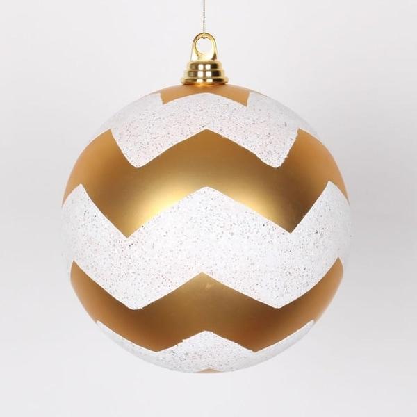 "Gold Matte with White Glitter Chevron Christmas Ball Ornament 8"" (200mm)"