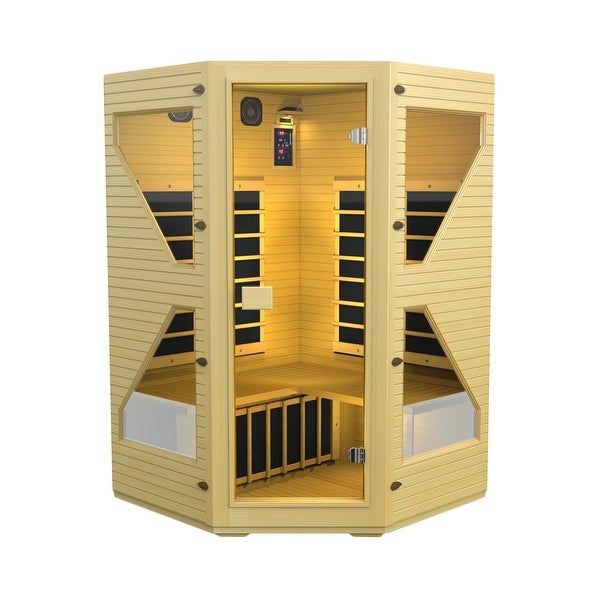 JNH Lifestyles Ensi 3-person Corner Zero-EMF Far Infrared Canadian Hemlock Wood Sauna