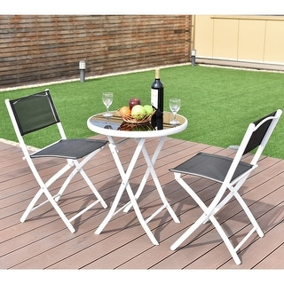 Superb Costway 3 PCS Folding Bistro Table Chairs Set Garden Backyard Patio  Furniture Black