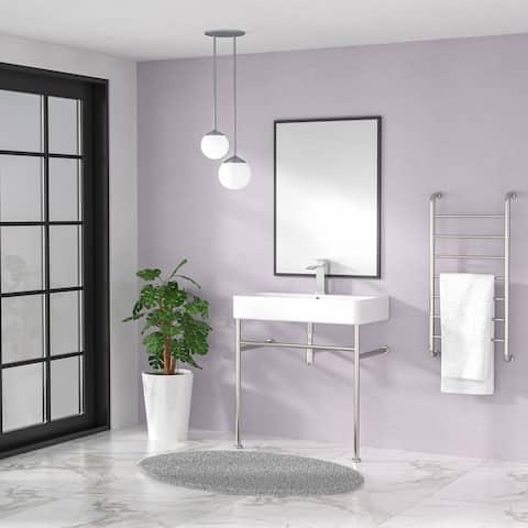 Kichae Ceramic Console Sink White Basin Gold/Black/Silver Legs Vanity Sink
