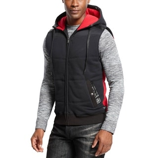 Sean John Big and Tall Hooded Cotton Blend Vest Black and Red XXX-Large