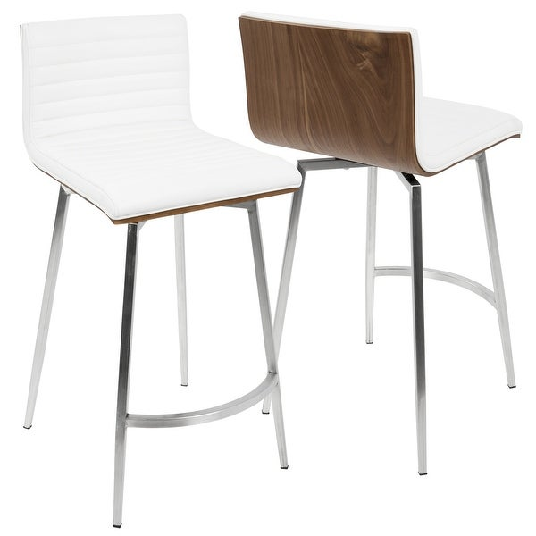 Mason Contemporary Swivel Counter Stool Upholstered in Faux Leather (Set of 2) - N/A. Opens flyout.