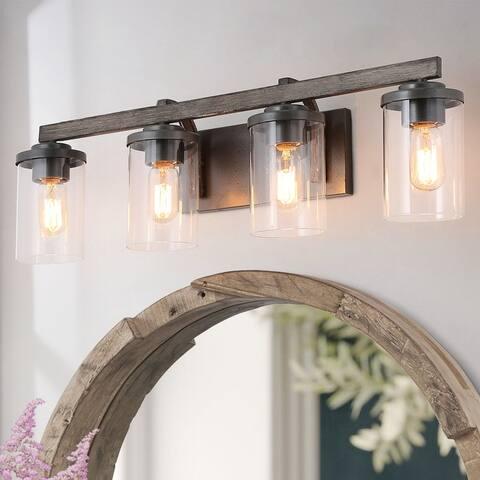 Farmhouse 4-light Linear Bathroom Vanity Lights Rustic Glass Wall Sconces