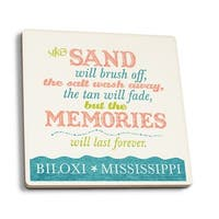 Biloxi, MS Beach Memories Last Forever LP Artwork (Set of 4 Ceramic Coasters)