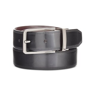Perry Ellis Mens Big & Tall Silver Lines Dress Belt Leather Reversible - 52