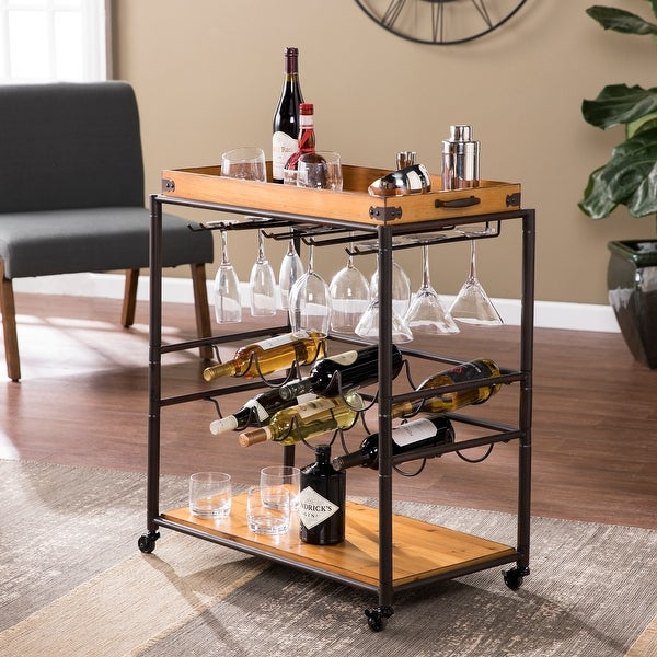 Copper Grove Maya Modern Farmhouse Black Wood Bar Cart. Opens flyout.