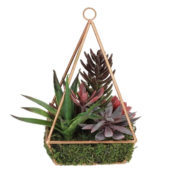 "9"" Artificial Succulents Arrangement in 4-Sided Copper Metal Wire Frame - N/A"
