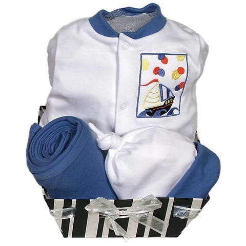 Raindrops Baby Boys Delightful Brights 4-Piece Sailboat Footie Gift Set, Royal 0-6M - 3-6 Months