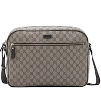 8143b6c737e Gucci Men s Zip Top Beige Ebony GG Plus Coated Canvas Bag 211107 8588 - One