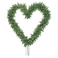 "22"" Green Pine Artificial Heart Shape Wreath with Ground Stakes - Unlit"