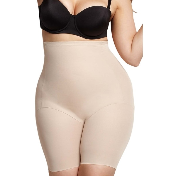 2044c6c2b3 Naomi and Nicole Womens Nude Plus Size Firm Control High Waist Thigh Slimmer  1X