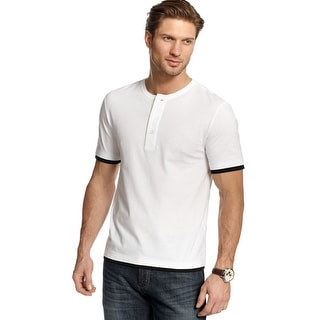 Club Room Big and Tall Short Sleeve Henley Style Shirt Bright White 3XLT