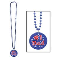 """Club Pack of 12 Blue """"#1 Dad"""" Medallion Beaded Party Necklaces 36"""""""