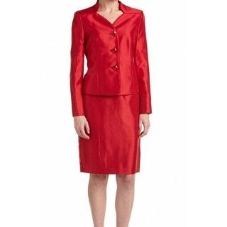 Le Suit NEW Red Crimson Women's Size 18 Shantung Skirt Suit Set