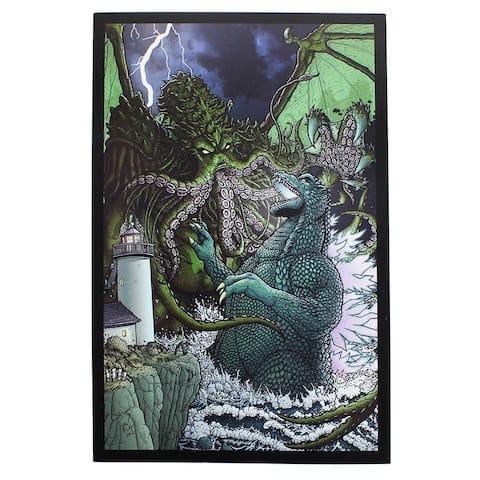 "Godzilla Versus Cthulhu 7"" x 10.5"" Art Print - Multi"