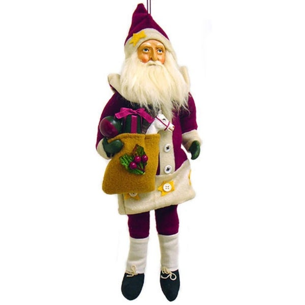 """Country Santa Claus With Gifts Cloth Christmas Ornament 14"""" - RED"""