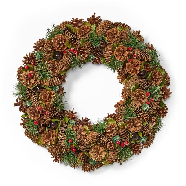 Plano 18 5 Pine Cone And Glitter Artificial Christmas Wreath Natural By Christopher Knight Home Natural Glitter Overstock 32046994