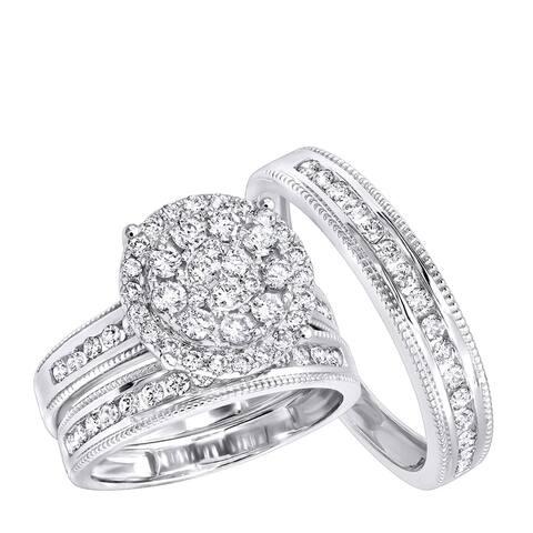 Royal Trio Wedding Band Set: Diamond Engagement Ring Set in 14K Gold 1.75ctw by Luxurman
