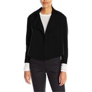 Anne Klein Womens Open-Front Cropped Jacket, black, 4