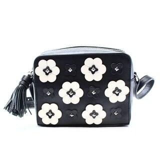 Rebecca Minkoff NEW Black Leather Floral Applique Camera Purse Bag