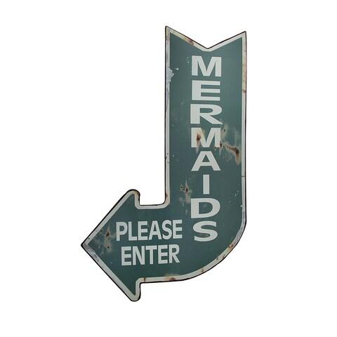 Mermaids Please Enter Vintage Finish Arrow Shaped Tin Wall Sign