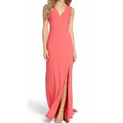 Aidan Mattox NEW Orange Womens Size 6 Front-Slit Lace-Cutout Maxi Dress