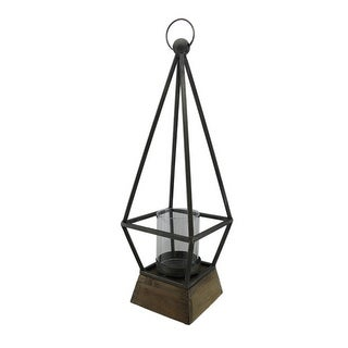 Beacon of Light Wood and Metal Diamond Candle Holder - 21.5 X 7 X 7 inches