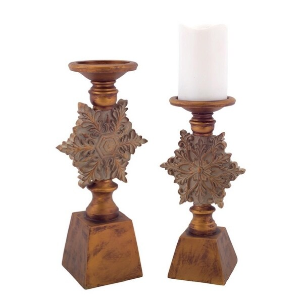 2 Luxury Lodge Antique Style Bronz Snowflake Christmas Pillar Candle Holders 13""