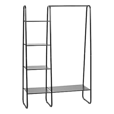 Metal Garment Rack with Metal Mesh Shelves in Black