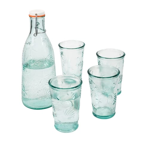 French Home Recycled Clear Glass, 1-quart Coastal Water Bottle and Set of 4, 10-ounce Glasses