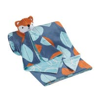 Lambs & Ivy Blue/Orange Leaf and Bubbles Baby Blanket w/ Lovey – Fox