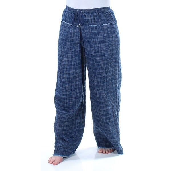 f2af9242959 Shop MAX STUDIO Womens Navy Tie Frayed Plaid Wide Leg Pants Size  S - Free  Shipping On Orders Over  45 - Overstock - 21678665
