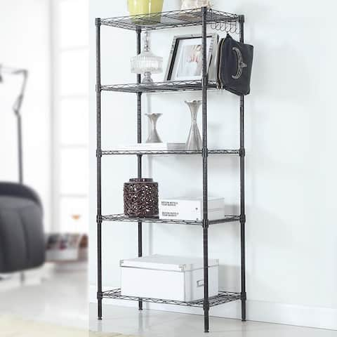 5-Layer Adjustable Floor Standing Carbon Steel Storage Rack Black