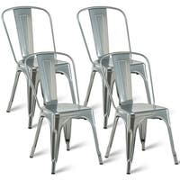Costway Set of 4 Dining Side Chair Stackable Bistro Cafe Metal Stool Vintage - Sliver
